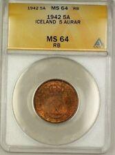 1942 Iceland 5A Five Aurar Copper Coin ANACS MS-64 Red-Brown (E)