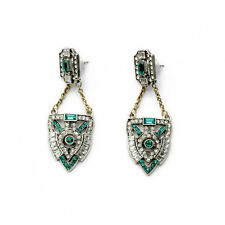 E1489 Fashion Lady Accessories Art Deco Pave Chevron Green Crystal Drop Earrings