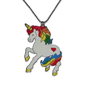 Punk Gay Lesbian LGBT Pride Heart Brite Rainbow White Unicorn Pendant Necklace