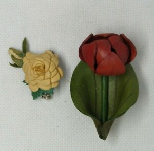 Vintage LEATHER FLOWER PIN Brooch Lot of 2 Stem and non stem