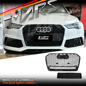 Gloss Black QUATTRO RS6 Style Front Bumper Bar Grille for AUDI A6 S6 C7 MY15-17