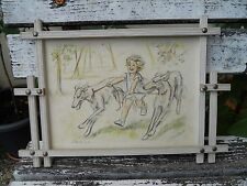 Ancienne gravure litho Germaine Bouret cadre d'origine pub Rambouillet Vertige