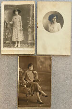 Lot of 3 Antique Real Photo RPPC Postcards Beautiful Ladies