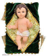 "10"" Inch Statue of Baby Jesus Christ On Green Cloth Nino Niño Dios Christmas"
