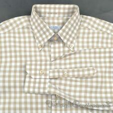 BARBA White Label Brown Gingham Check 100% Cotton Luxury Dress Shirt - 15 3/4