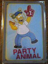 """Simpsons Homer Tin Metal Sign Man Cave Bar """"Party Animal"""""""