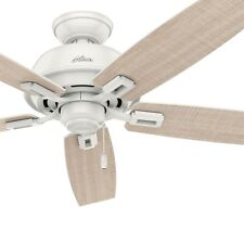 "Hunter Fan 52"" Outdoor Ceiling Fan in Fresh White with 5 Washed Walnut Blades"