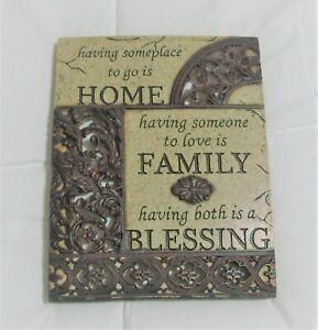 FAMILY THEMED WALL PLAQUE Home Family Blessing Beige & Brown Ornate Resin