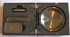 Carbon Fibre 3 Piece Folding Cigar Box Ashtray With Cutter, Punch, Cigar Rest