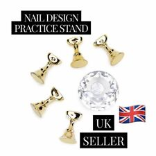 Magnetic Nail Tip Practice Stand Base Crystal + Alloy Holder Nail Art Display UK
