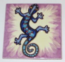 "Blue Lizard Art Tile 4""x4"" Decorative Ceramic New Purple Background SD-173"