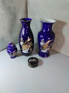 (4) Vintage Japanese Peacock Porcelain Vases 13 inches tall