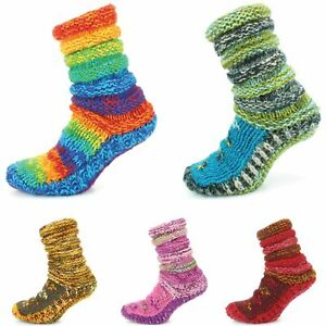 Wool Socks Chunky Knitted Fleece Lined RAINBOW Slipper Winter Warm LoudElephant