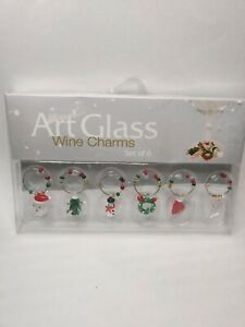 Handcrafted Glass Christmas Wine Charms LS Arts Set of 6
