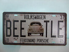 Tin Metal Wall Art Volkswagen Beetle Licence Plate Car Number Garage Poster