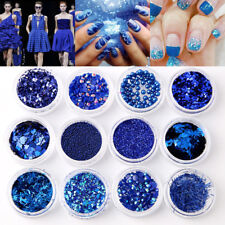 12Pcs 3D Nail Gillter Sequins Paillettes Blue Pigment Powder Rhinestone DIY Deco