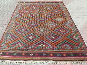 "Large Rug, Vintage Turkish Kilim Rug, Kelim, Area Rug, Carpet, Teppiche 75""X107"""