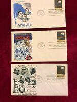 FDC APOLLO 8 #1371 3 Different First Day Covers Unaddressed