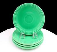 """FIESTA HOMER LAUGHLIN LIGHT GREEN 4 PIECE 6 1/4"""" BREAD & BUTTER PLATES 1936-1957"""