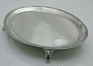Georgian Antique Solid Sterling Silver Oval Teapot Stand on 4 Feet (1762/9/ONN)