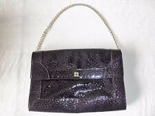 KATE SPADE DEEP PURPLE OSTRICH EMBOSSED PATENT SHOULDER BAG