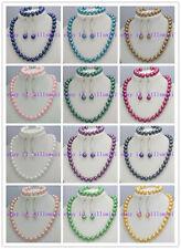 Wholesale 8mm South Sea Shell Pearl Gemstone Necklace Bracelet Earrings Set 18''