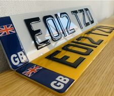 Pair 3d Number Plates Car 100 Road Legal Black Border - Top Quality Post