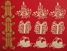 "12 White Tonic Die Cut ""Christmas Selection"" Embellishments"