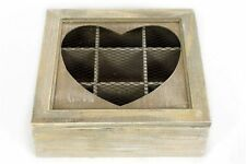 Lime Washed Rustic Shabby Chic Wooden Heart Tea Bag Storage Box Chest Caddy