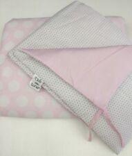 Clair De Lune Cot / Crib Bumper And Quilt Bedding Set Baby Pink White Spots Dots
