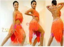 Women Ballroom Latin Rumba Salsa ChaCha Dance Dress Tassel Show Competition S-XL