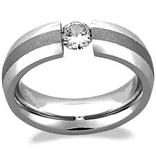 TITANIUM Polished TENSION Men's RING with BRUSHED Accent Band & CZ, size 12