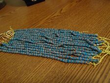 "8"" Vintage 4-8mm Yellow, Red With Blue Glaze Glass Chevron Bead Strand"