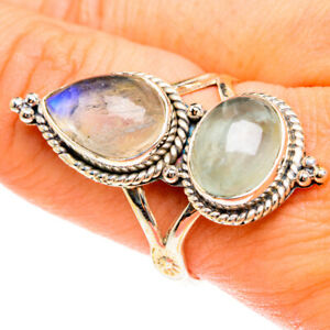 Large Rainbow Moonstone, Aquamarine Sterling Silver Ring Size 10 Jewelry R76249