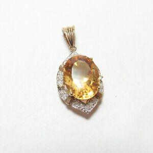 Estate 10K Yellow Gold 9.00 Ct Natural Sun Orange Citrine And Diamond Pendant