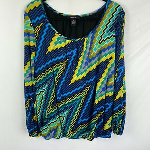 Style & Co Sheer Lined Blouse Size XL Blue/Green zig zag print Long Sleeves