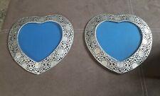 Heart Filigree Picture Frames x 2 (silver)