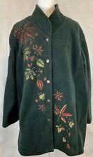 Bob Mackie Wearable Art Embroidered Hunter Green Fleece Jacket Coat 2X