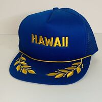Vintage HAWAII Hat Cap Gold Leaf Scrambled Eggs Embroidered Blue Snapback Mesh