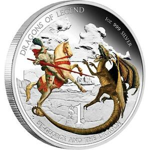 2012 $1 Dragons of Legend.St George and Dragon.1oz Silver Proof Coin Perth Mint!