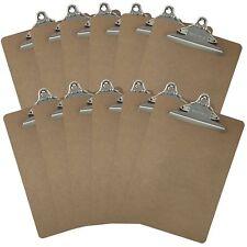 Letter Size Clipboards 9'' x 12.5'' Standard Clip Hardboard (Pack of 12)