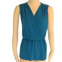 ANNE KLEIN Sz L XL Blue Stretch Knit Dressy or Work Wear Peplum Tunic Top EUC