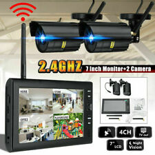 4 Digital Wireless CCTV Camera & 7''LCD Monitor DVR Record Home Security A/B/C/D