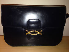 Fior London Vintage navy blue leather HANDBAG purse top handle bag