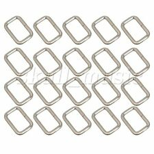 20pcs Silver Rectangle Metal Dee Ring D Webbing Belt Ribbon Buckle for 25mm