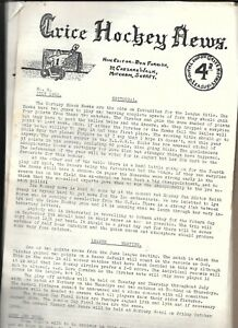 Grice Hockey News - 8 Newsletters from the 1960's **Good Condition**