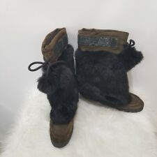 Coach Maryann Womens Size 8B Rabbit Fur Suede Pom Pom Wedge Boots Made In Italy