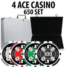 4 Ace Casino Poker Chip Set 650 Chips with Aluminum Case