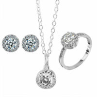 925 Silver Plated Jewelry Set Party Crystal Ring Fashion Necklace Women Earrings