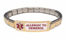 Allergic To Demerol 9mm Italian Charm Medical Alert Starter Bracelet S Steel